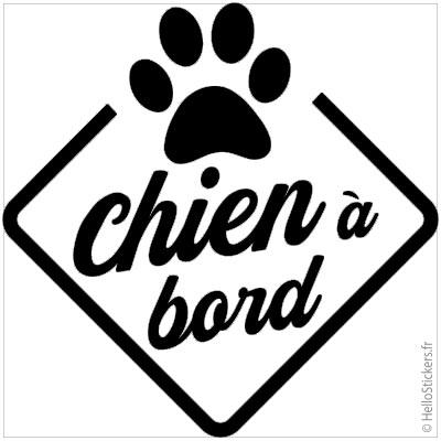 stickers autocollants chien à bord noir