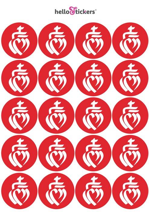 Stickers autocollants coeur vendéen en planche étiquettes – ref.160918