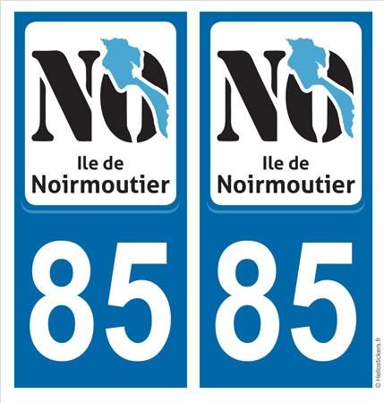 sticker plaque NO Ile de Noirmoutier 85 Autocollant immatriculation adhésif