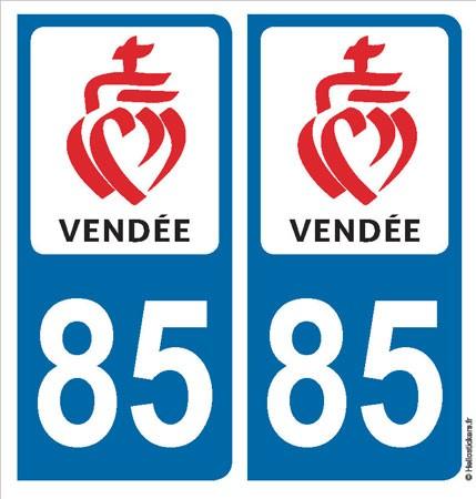 Adhésifs stickers plaque 85 Vendée blason Département 85 pour d'immatriculation auto