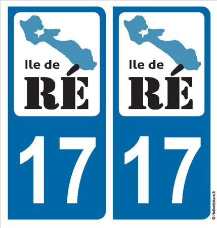 Autocollant sticker plaque Ile de Ré, département 17 pour immatriculation auto