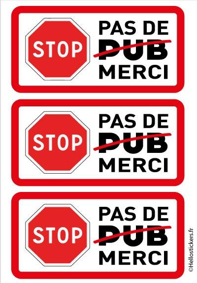 Autocollant sticker stop pub, pas de pub