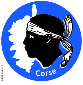 sticker autocollant Corse carte emblème tête de Maure