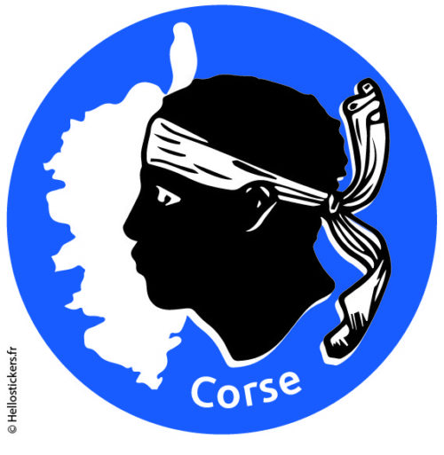 Sticker autocollant Corse, carte de Corse et emblème