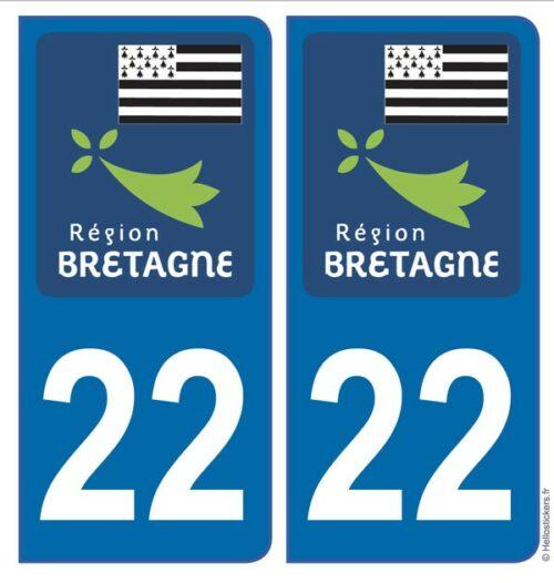 Autocollants stickers plaque Bretagne Côtes d'Armor, blason département 22 pour immatriculation auto