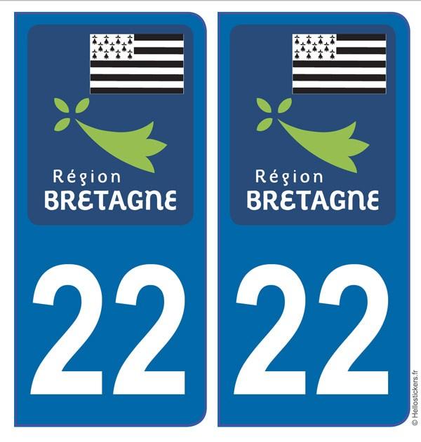 Bretagne département Côtes d'Armor 22 adhésifs stickers pour plaque immatriculation autocollants blason
