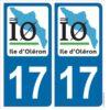Ile d'Oléron Charente Maritime département 17 autocollant sticker plaque immatriculation adhésif