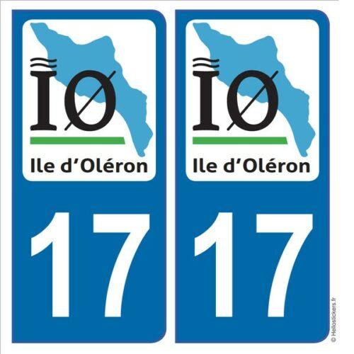 stickers Ile d'Oléron IO Autocollant immatriculation adhésif plaque département 17