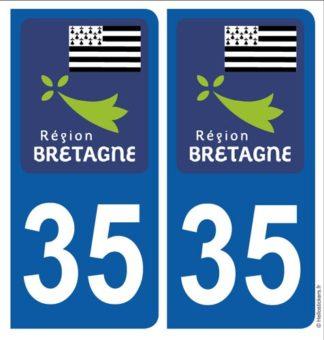 Bretagne département Ille et Vilaine 35 adhésifs stickers blason pour plaque immatriculation autocollants