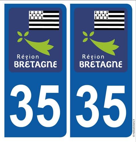 Autocollants stickers plaque Bretagne Ille et Vilaine, département 35 pour immatriculation auto