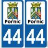 Ville Pornic département Loire Atlantique 44 adhésifs stickers pour plaque immatriculation voitures autos autocollants