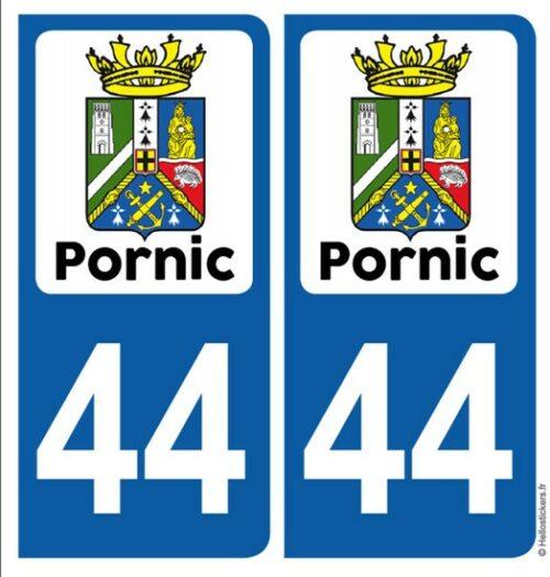 Autocollants sticker plaque Pornic Blason Loire Atlantique département 44 pour immatriculation auto