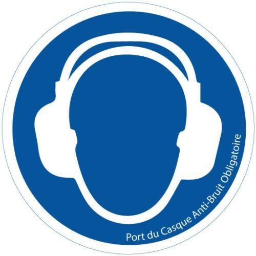 Signalétique entreprise Port du Casque Anti-Bruit Obligatoire sécurité Sticker Autocollant