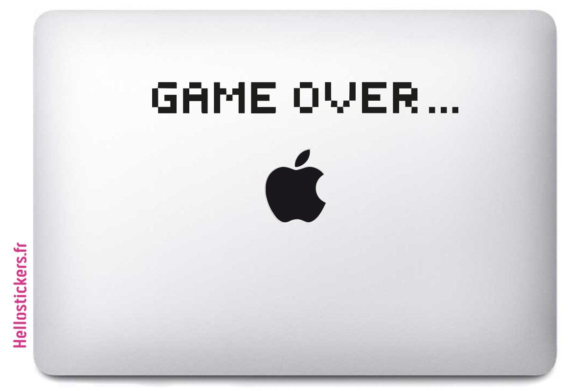 sticker autocollant mac ou pc ordinateur portable Game Over noir ou blanc
