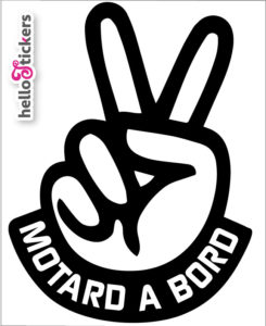 Stickers autocollants Motard à bord Motarde à bord noir transparent