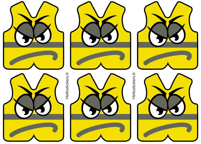 Gilets jaunes en colère stickers autocollants humour gilets jaunes autocollants en planche