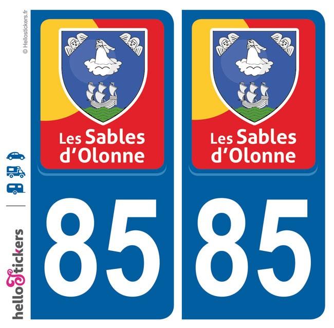 Les Sables d'Olonne autocollant sticker plaque immatriculation adhésif blason rouge jaune bleu pour voiture camping car