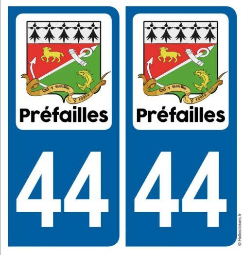 autocollant Préfailles blason 44 pour plaque immatriculation stickers