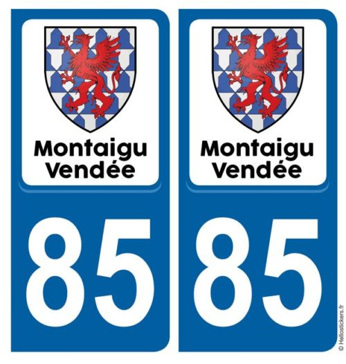 autocollants Montaigu Vendée pour plaque Commune nouvelle immatriculation pour voiture avec adhésif Blason
