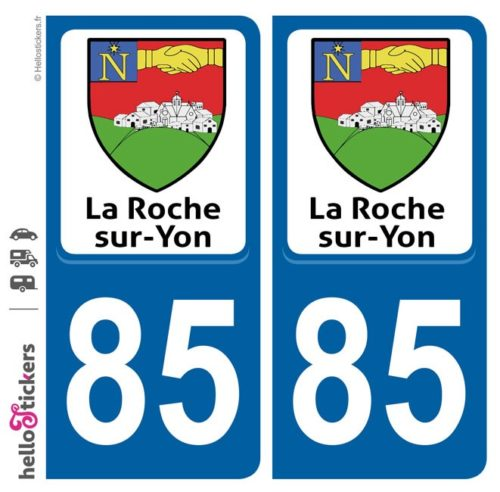Stickers autocollants plaque immatriculation La Roche sur Yon en Vendée 85 blason