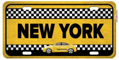 Sticker plaque taxi New-York autocollant pour déco