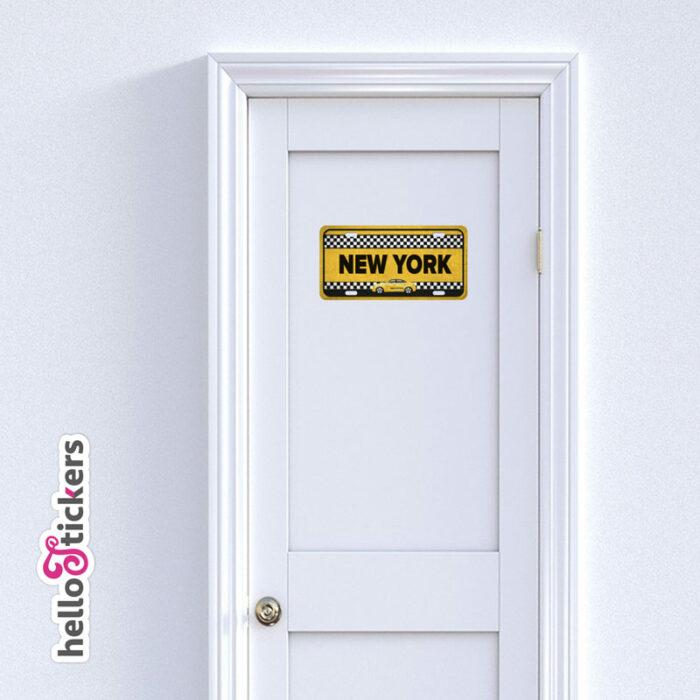sticker plaque taxi new-york autocollant adhesif pour décoration maison portes murs