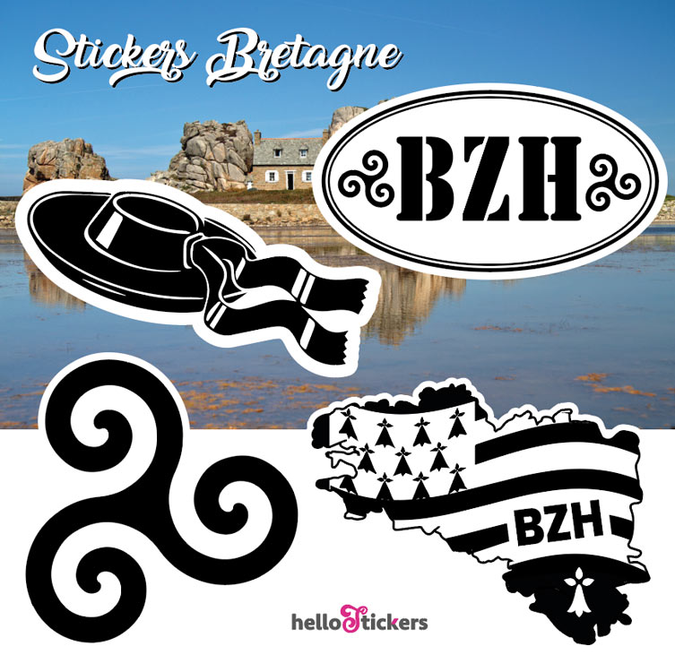 Stickers autocollants sur la Bretagne planche contenant BZH, chapeau breton, carte Bretagne et Triskel