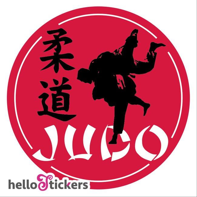 240119b Sticker autocollant judo sport club avec signe japonais sticker rond pour club de judo