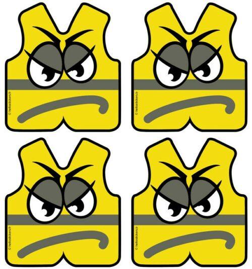 Gilets Jaunes stickers autocollants en planche adhésifs