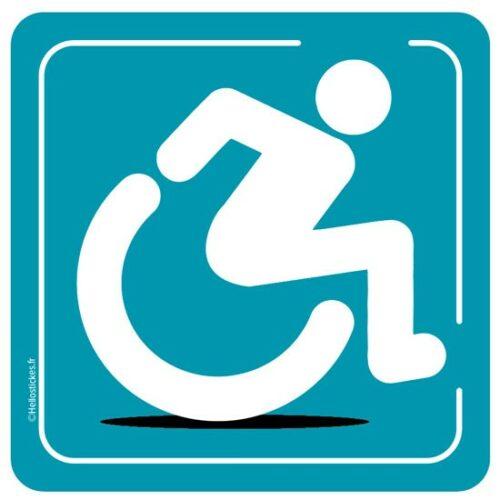 Sticker autocollant fauteuil roulant handicapé à bord accès handicapé