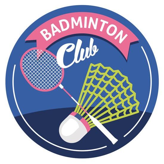 Sticker autocollant badminton club rond avec raquette et volant pour club de badminton ou particulier
