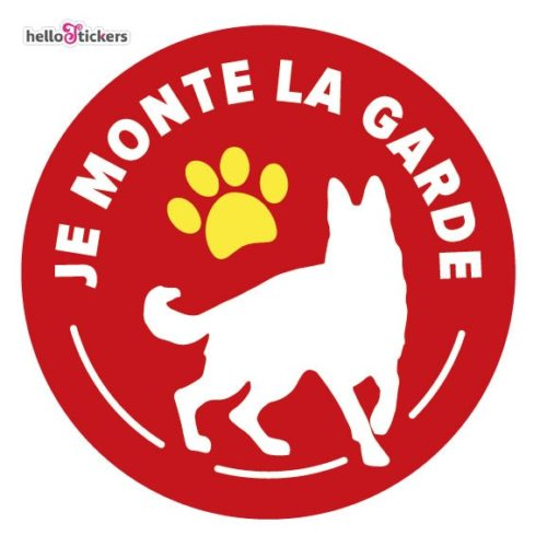sticker autocollant attention au chien, je monte la garde