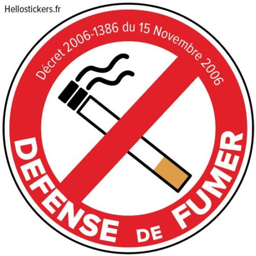 Sticker autocollant défense de fumer décret zone non fumeur
