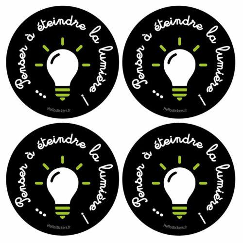 4 Stickers autocollants économie énergie penser à éteindre la lumière