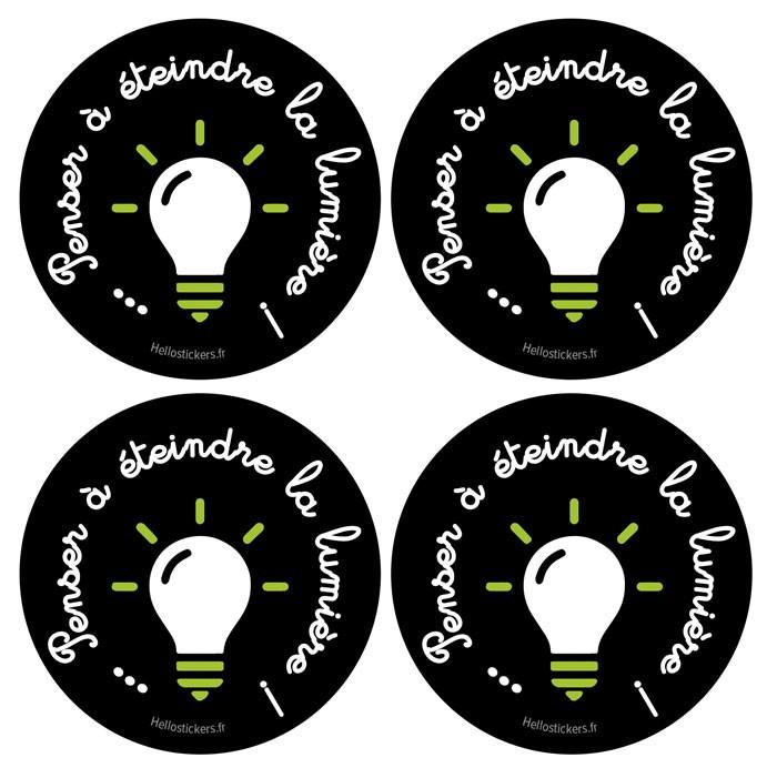 stickers autocollants economie d'énergie environnement penser a eteindre la lumiere