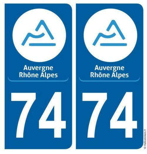 Autocollant sticker plaque Haute Savoie, département 74 pour immatriculation auto