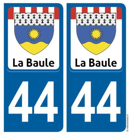 Autocollant sticker plaque La Baule 44 Loire Atlantique immatriculation département pour auto