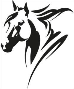 autocollant tête de cheval equitation remorque cheval tete cheval noir