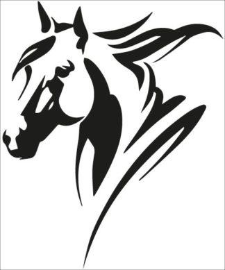 Autocollant tête de cheval équitation pour voiture, ordinateur – ref 010519