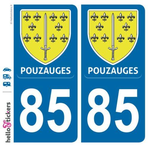 Sticker plaque Pouzauges immatriculation département 85 Vendée autocollant pour auto