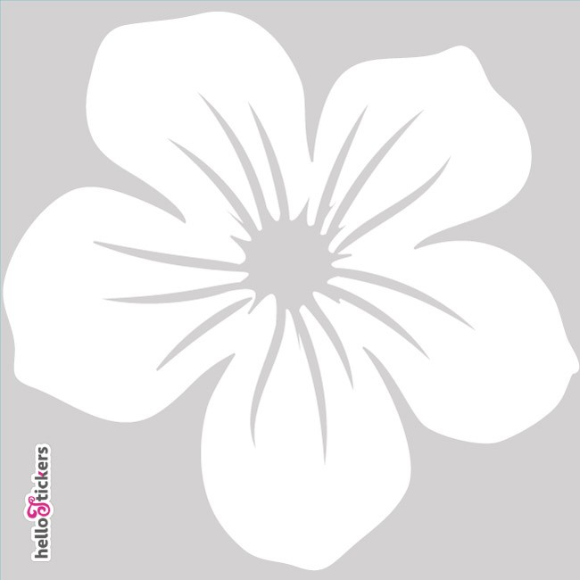 010619 autocollant sticker fleur tribal hawai blanc