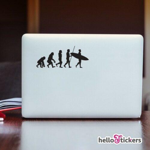Sticker autocollant évolution de l'Homme surf