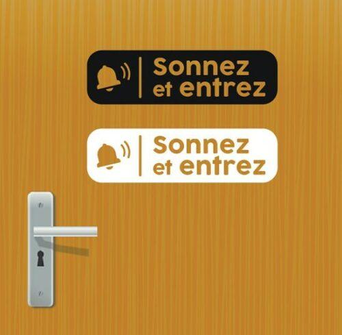 Sticker autocollant sonnez et entrez pour portes ou vitres