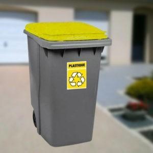 250719 sticker autocollant symbole tri sélectif plastique pour poubelles grises