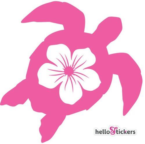Sticker autocollant tortue marine et fleur hawaïenne