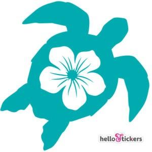 autocollant tortue marine et fleur hawaïenne