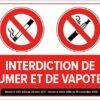 sticker autocollant défense de fumer ou de vapoter avec décret