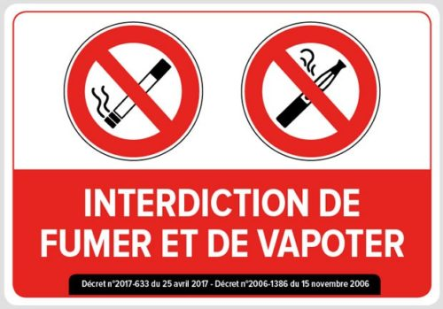 Sticker autocollant interdiction défense de fumer ou vapoter décret