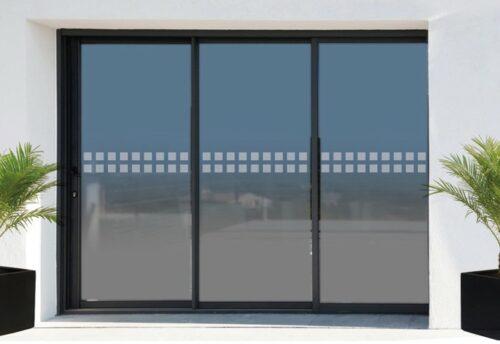Sticker autocollant frise de sécurité anti-collision pour baies vitrées adhésif dépoli formes carrées