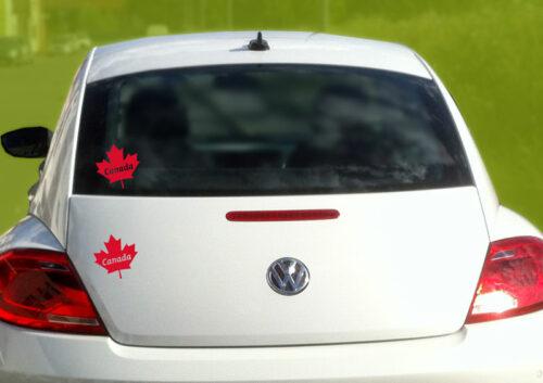 Sticker autocollant feuille érable Canada rouge pour voiture
